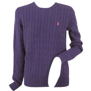 LRL Eggplant (Deep Purple) Cable Knit Sweater